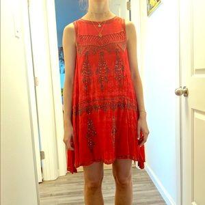 Free people Red beaded mini dress
